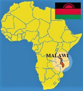 The African map, showing exactly where Malawi is